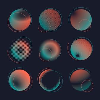 Зеленый и оранжевый полутоновых значок векторный набор