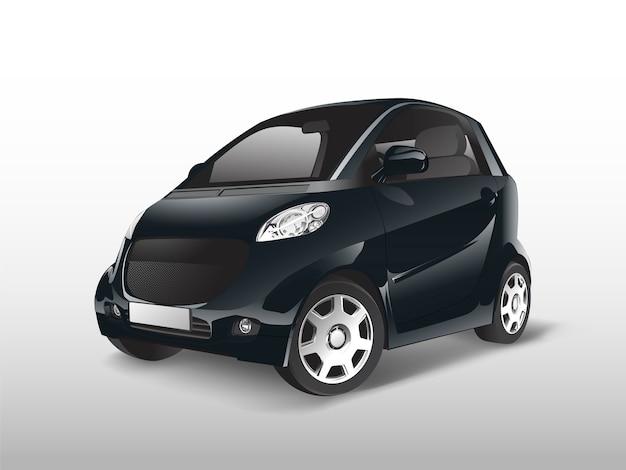 Черный компактный гибридный автомобиль вектор