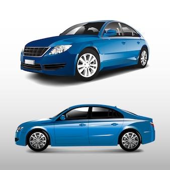 青いセダンの車は、白いベクトルで分離
