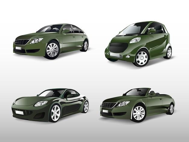 Набор различных векторов зеленых автомобилей