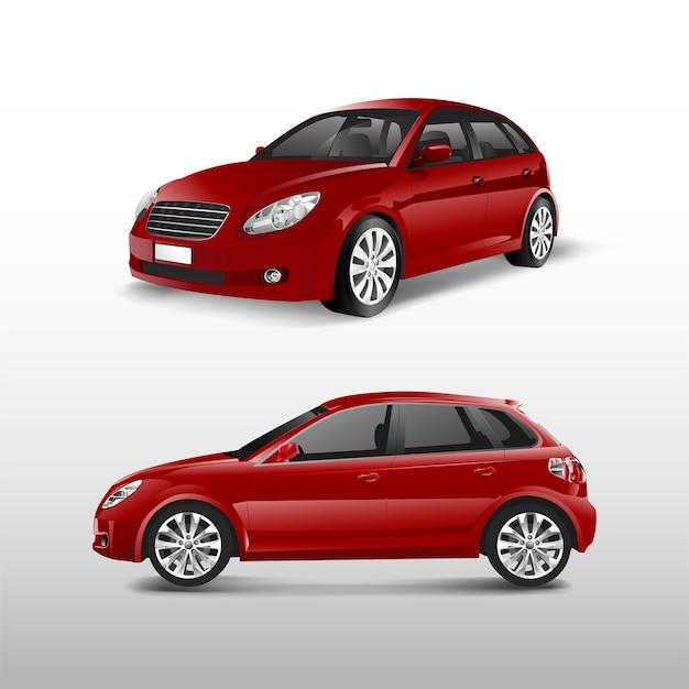 赤いハッチバック車は白いベクトルで分離