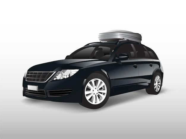 Черный внедорожник с багажником на крыше