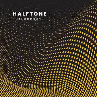 黄色と黒の波状のハーフトーン背景ベクトル