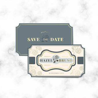 Старинные свадебные приглашения этикетки векторный набор