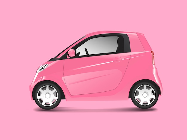 ピンクコンパクトハイブリッド車ベクトル