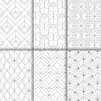 白い背景に設定された黒の幾何学的なシームレスパターン