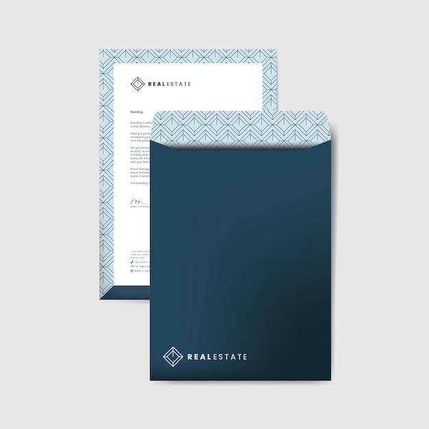 Шаблон синий корпоративный конверт