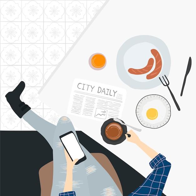 人々の日常生活のイラスト