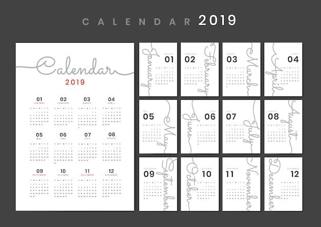 筆記体デザインカレンダーモックアップ