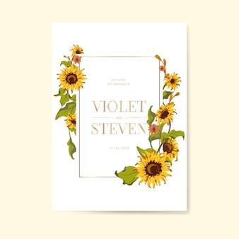 ひまわりの結婚式の招待カードテンプレート