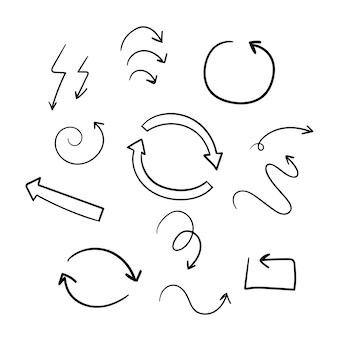 Нарисованная рукой коллекция иллюстрации стрелки