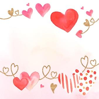バレンタインデーのアイコン水彩イラスト