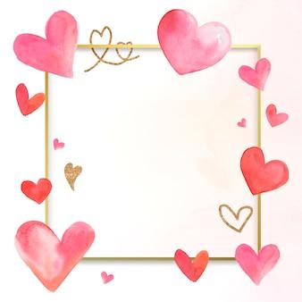 バレンタインボーダー水彩イラスト