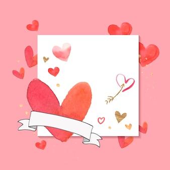 バレンタインデーの背景水彩画スタイルのベクトル