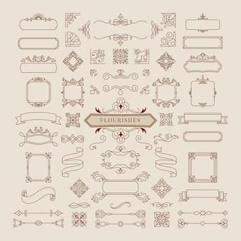 Коллекция старинных орнамент кадра иллюстрации