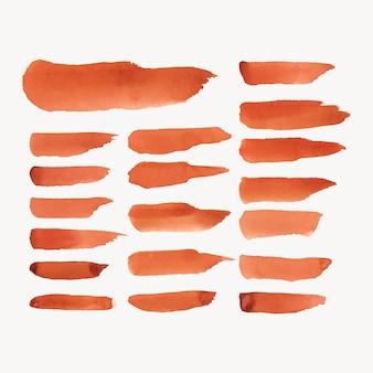 オレンジ色の水彩画の背景のベクトルのセット