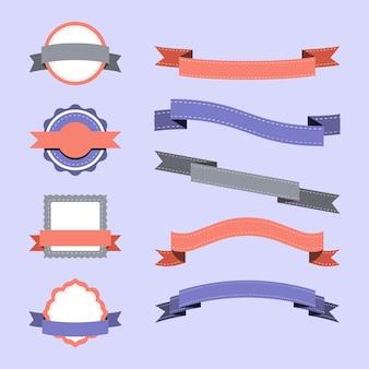 パステルカラーのバッジデザインベクトルのセット