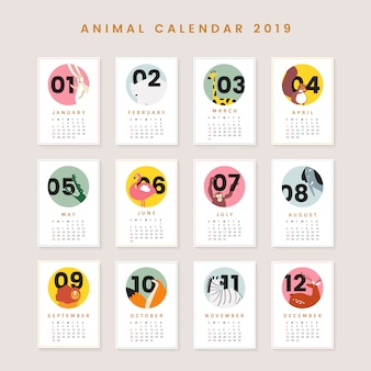 Симпатичный календарь животных макет