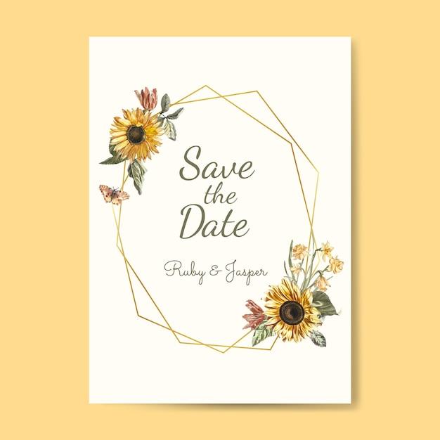 日付の結婚式の招待状のモックアップベクトルを保存します。