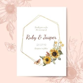 結婚式の招待カードのモックアップベクトル