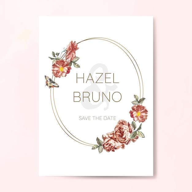 花の結婚式の招待状のモックアップベクトル