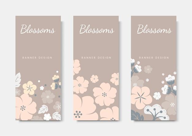 カラフルな花カードテンプレートセット
