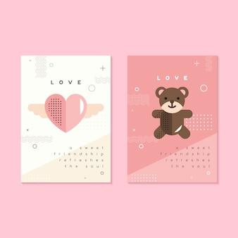 バレンタインデーのチラシとカードのテンプレート