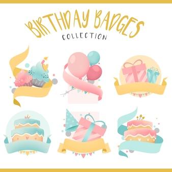 カラフルな誕生日バッジベクトルのコレクション