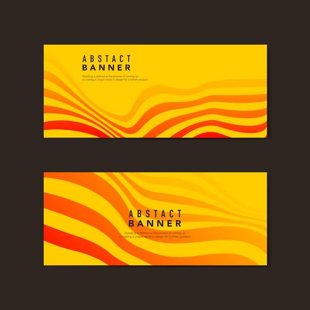 黄色とオレンジ色の抽象的なバナーのベクトル