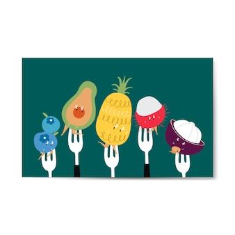 Свежие мультфильмы тропических фруктов на векторе вилок