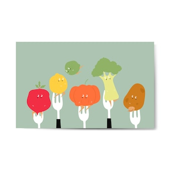フォークの上の新鮮な有機野菜漫画