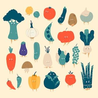 様々な有機野菜漫画のキャラクターのベクトルのセット