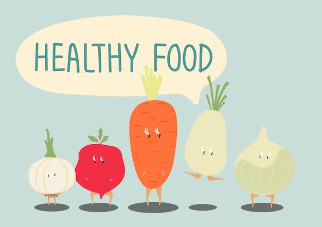 Персонажи мультфильмов свежих овощей установить вектор