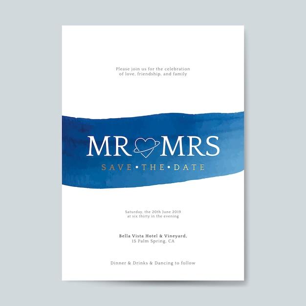 青い結婚式の招待カードベクトル