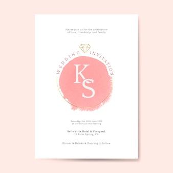 ピンクの結婚式の招待状カードベクトル