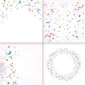Красочная коллекция дизайна конфетти
