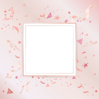 淡いピンクの紙吹雪のお祝いデザイン
