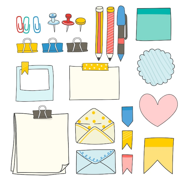 カラフルな文房具用品コレクション