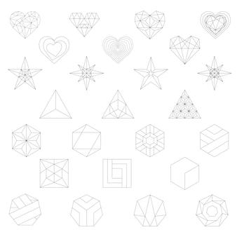 幾何学的図形の線形イラスト