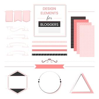 ブロガーのベクトルのデザイン要素のセット