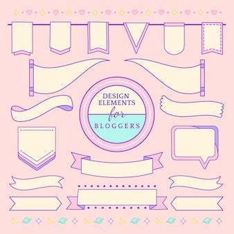Симпатичные и девчачьи элементы дизайна для блоггеров вектора