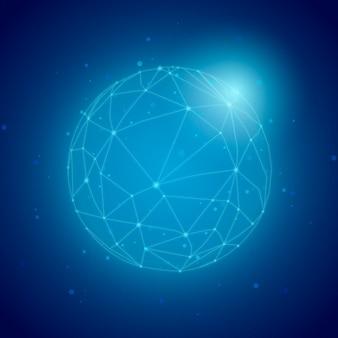 世界規模の接続青い背景イラスト