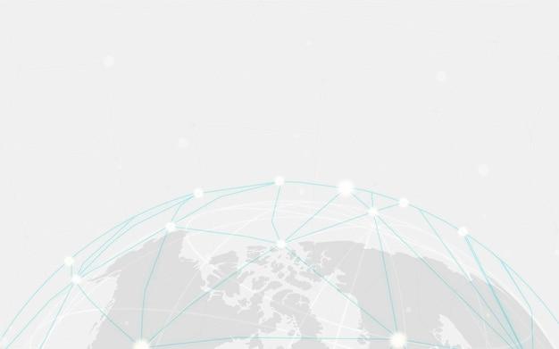 世界的な接続灰色の背景イラスト