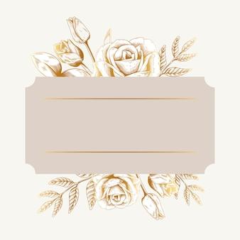 ロマンチックな花柄のバッジ