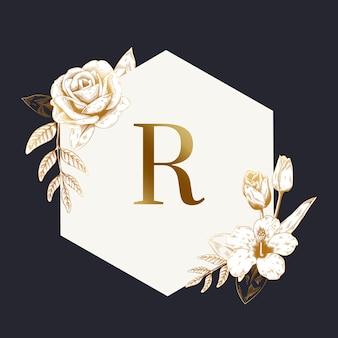 Винтажная цветочная эмблема