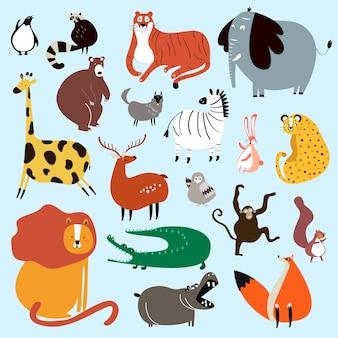 Коллекция милых диких животных в мультяшном стиле вектор