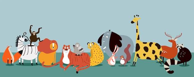 Милая группа диких животных вектора