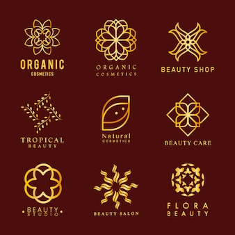 Коллекция органической косметики логотип вектор