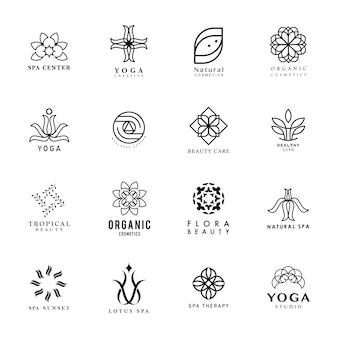 ヨガとスパのロゴのベクトルのセット