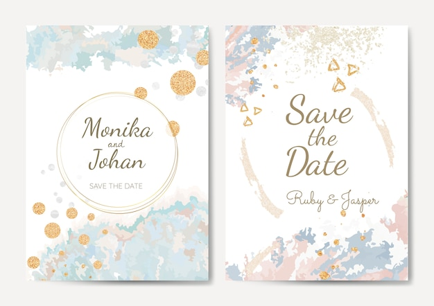 日付の結婚式の招待状のベクトルを保存します。